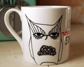 Hand Illustrated White Mug - Owl Stare-Off