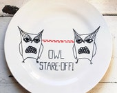 30% SALE - Owl Stare-Off - Hand Illustrated Plate