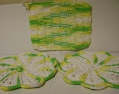 2 Vintage Yellow, Green And White Crocheted Hot Pads and 1 Knit Pot Holder