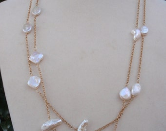 14k Gold Filled Necklace with Freshwater Pearls
