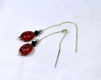 Red & Black Ladybug Ceramic Beads with Swarovski Crystals and Sterling Silver Accents on Sterling Silver Ear Threads