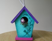 Handpainted Colorful Small Decorative Scroll Teal Birdhouse