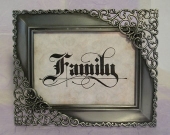 Inspirational Word Decorative Calligraphy - Family  Framed Table Top Decor
