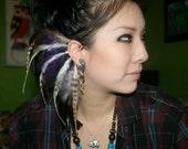 Bronze and Purple Feather Ear Wrap, Ear Cuff