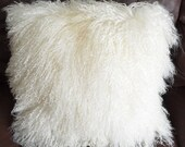 "12"" Mongolian Lamb Fur  Decorative Modern Contemporary Fur Pillow"