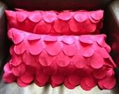 Fuchsia Satin Circle Decorative Lumbar Support  Pillows