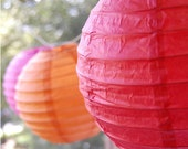 6 Chinese Lanterns - Wedding Lanterns - Reception Party - Hanging Decor - Paper Lanterns - Tissue Paper Pom Poms - Mandarin Red - Holiday