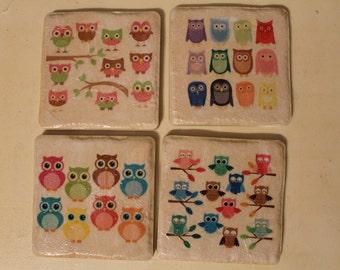 Customized Owl Tile Coasters