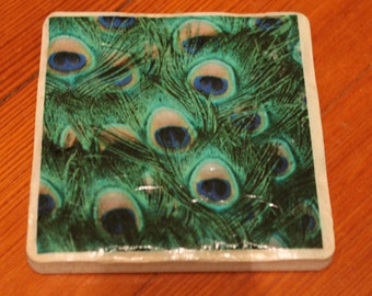 Customized Peacock Feather Print Tile Coasters