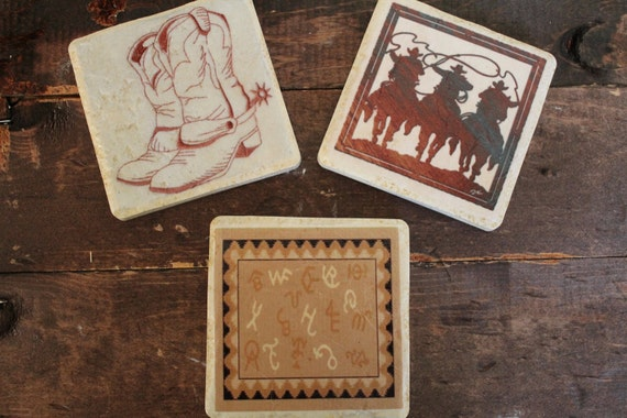 Customized Cowboy Tile Coasters