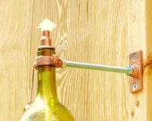 Wine Bottle Tiki Torch - Light Green Glass