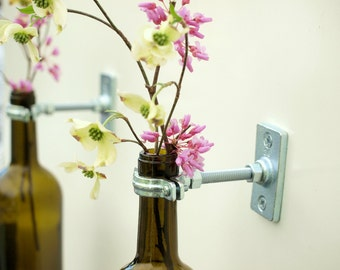 2 - Hardware Only - Wine Bottle Wall Flower Vase