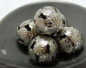 Large Round Silver Beads 20mm (5) Filigree Floral Antiqued Metal Big