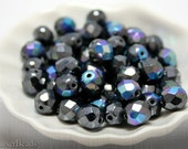 8mm Round Czech Fire Polished Gray Beads (20) Opaque Metallic Polish Faceted