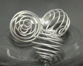 Large Round Metal Beads 20mm (10) Wire Bead Cage Silver Big last
