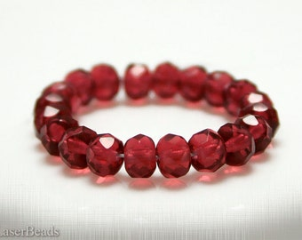 Small Red Czech Rondelle Beads 5mm (50) Glass Fire Polished Faceted Polish Pomegranate
