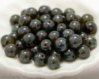 Green Round Czech Beads 8mm (20) druk beads. Moss Picasso Glass last