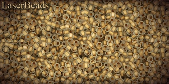 10g 11/0 TOHO seed beads Frosted Gold-Lined Crystal Nr. 989F