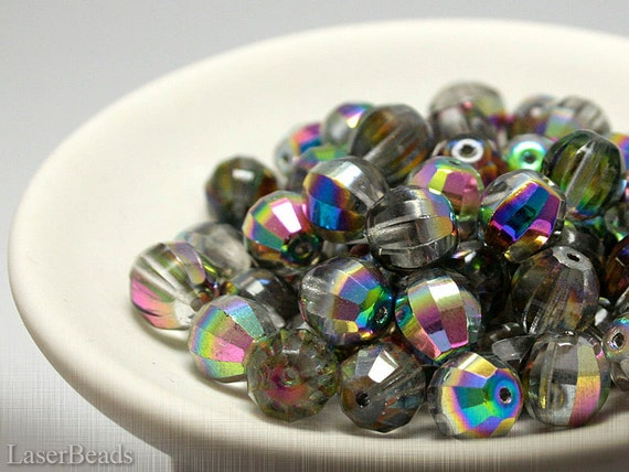 Czech Shabby Chic Fire Polished Silver Beads 10mm (10) Faceted Polish Glass last