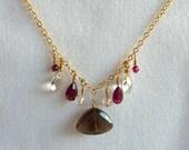 Smokey Quartz, Garnet, Rock Crystal & Rose Quartz Pendant Necklace