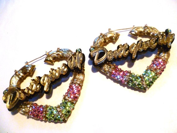 Beauty Queen: Pink & Green Swarovski Crystal Bamboo Earrings.
