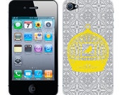 Apple iPhone 4 4S Vinyl Decal Skin Sticker Cover Case - Yellow Birdcage Silhoutte Hip on Gray and White Damask Modern Gift iPhone Skin
