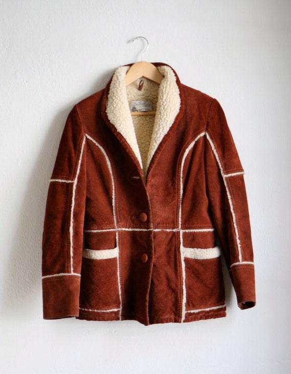 70's Genuine LEATHER wool SHERPA jacket cozy COAT