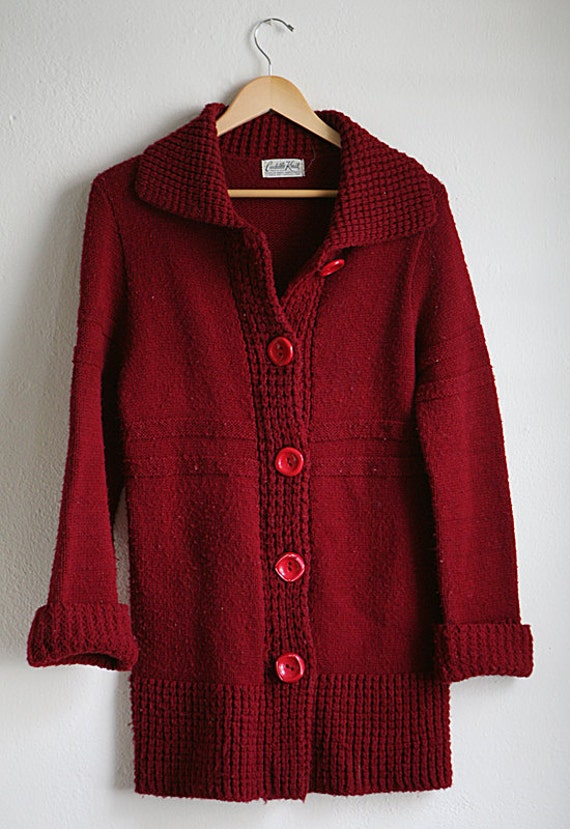 women's CARDIGAN thick knit SWEATER Cuddle Knit Maroon warm cozy