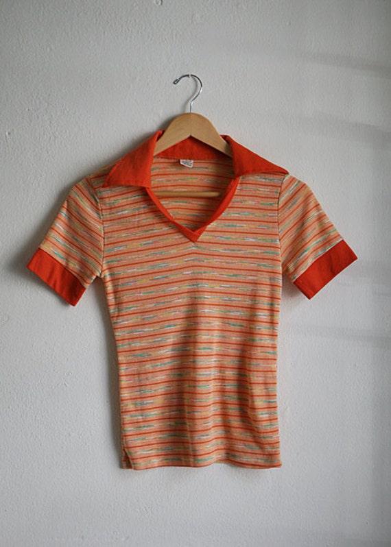 Women's SWEATER vest Orange IKAT style striped 70's POLO top