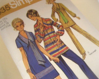 Vintage 1970's Simplicity Sewing Pattern for dress, long tunic blouse, and pants size 22 1/2, bust 45, waist 39