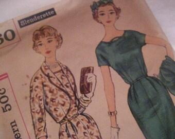 Vintage 1950's Simplicity 2460 Sewing Pattern dress pattern size 12 , bust 32