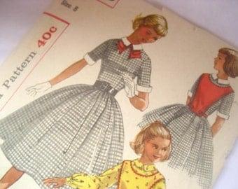 Vintage 1957 Simplicity 2203 Sewing Pattern Girls dress pattern size 8. Please see measurements in description.
