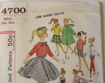 """Vintage 1960's Sewing Pattern For Barbie and other 11 1/2"""" teen model dolls. Simplicity 4700"""