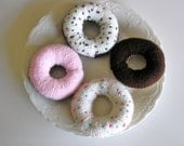 Knitted Donuts in Chocolate and Vanilla with Icing and Sprinkles (Set of 4)
