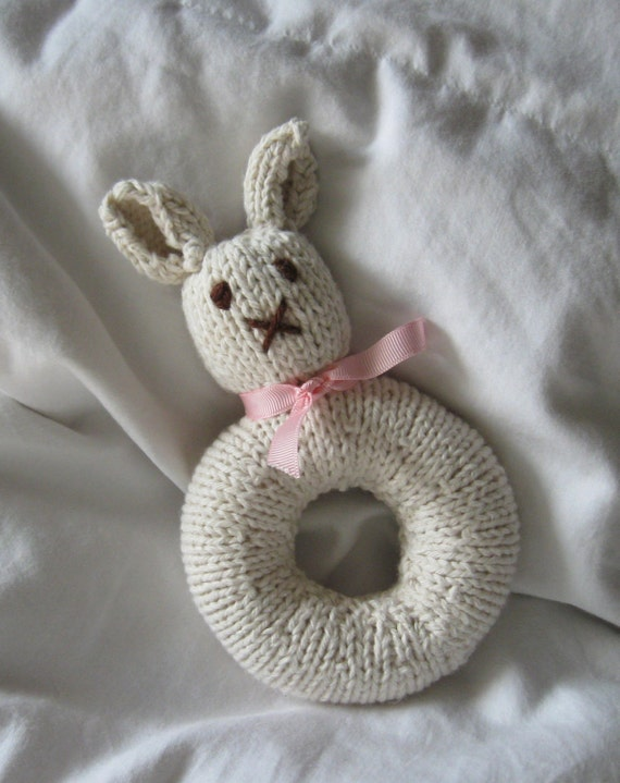 Knitted Bunny Rattle (shown with pink and pink gingham ribbon)