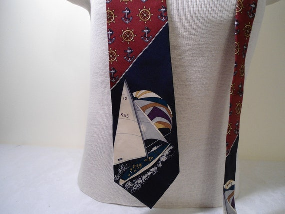 Spencer & Lowe Vintage Silk Tie with Sail Boat Design