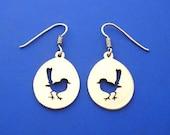 Silver Wren Bird Earrings , Hand Made Solid Silver
