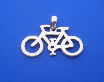 Bicycle pendant etsy silver bicycle pendant hand made solid silver aloadofball Gallery