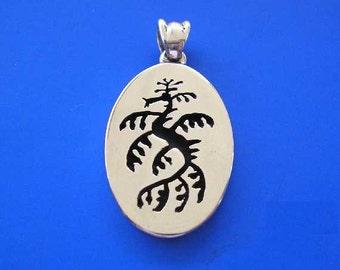 Silver Leafy Sea Dragon Oval Pendant , Hand Made Solid  Silver