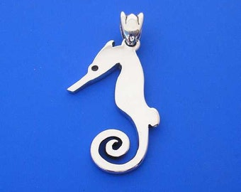 Silver Sea Horse Pendant , Hand Made Solid Silver Jewelry Jewellery