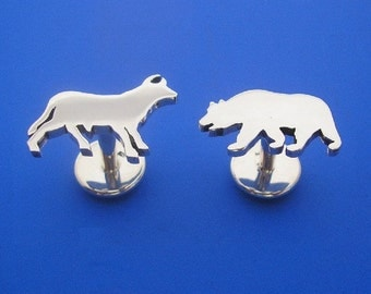 Silver Bull and Bear Cuff links , Hand Made Solid Silver