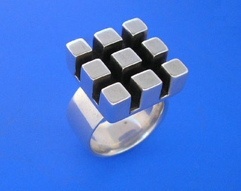 Silver Square Grid Ring , Hand Made Solid Silver
