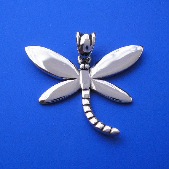 Silver Dragonfly Pendant , Hand Made Solid Silver Jewelry Jewellery