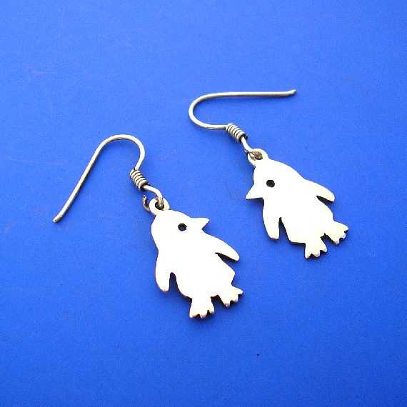 Silver Penguin Earrings , Hand Made Solid Silver