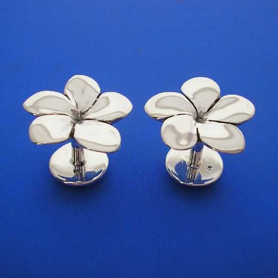 Silver Frangipani Plumeria Flower Hawaiian Cuff Links , Hand Made Solid Silver