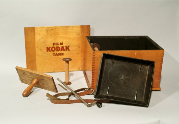 Antique Kodak Film Tank - Wood Box with Accessories - Vintage Photography Equipment