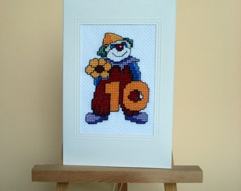 Clown cross stitch card for tenth birthday