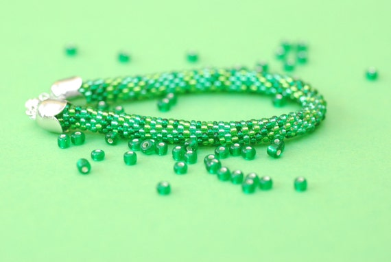 Hand crochet bracelet out of green beads