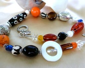 "Red, Black, Orange and Blue Large Beaded Necklace with African Bone and Silver - ""Colours of the Outback"""