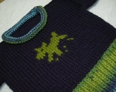 Toddler Boys Size 3T Crew Neck Pullover Sweater in Navy with Lime Green, Aqua and Denim Blue trim. Bonus Toy.